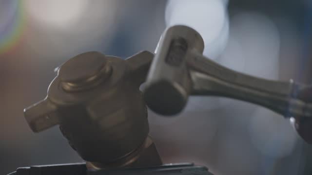 slo mo cu hammer hitting, tightening metal valve - strike industrial action stock videos & royalty-free footage