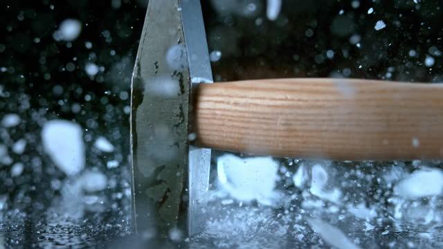 slo mo ld hammer smashing a chunk of ice - block shape stock videos & royalty-free footage