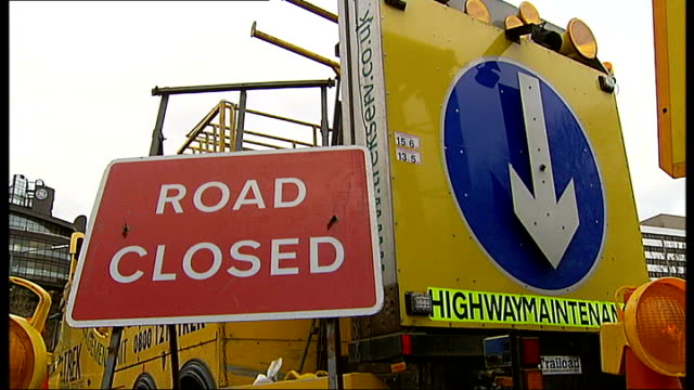 hammersmith flyover could remain closed for months; diversion sign saying 'a4 hammersmith flyover closed' cars and lorries in traffic jam road closed... - road closed sign stock videos & royalty-free footage