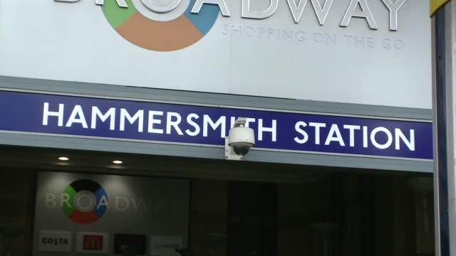 hammersmith subway station in london - entrance - english language stock videos & royalty-free footage