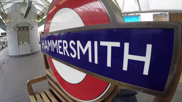 hammersmith subway station in london - logo stock videos & royalty-free footage