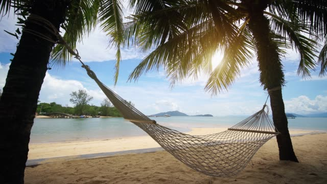hammock at payam island, ranong thailand - bay of water stock videos & royalty-free footage