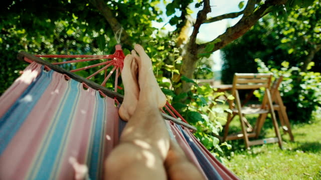 hammock relaxing point of view - human foot stock videos & royalty-free footage