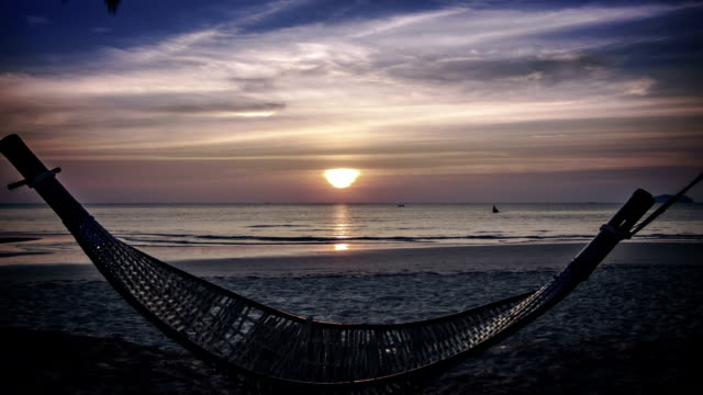 hammock silhouette with palm trees on a beautiful beach at sunset - tahiti video stock e b–roll