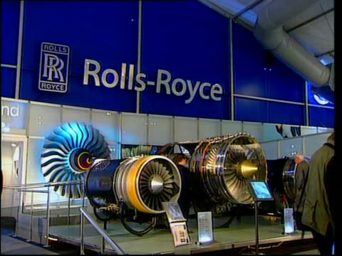 hampshire farnborough air show int gv rolls royce engines on display in rolls royce pavilion at farnborough air show john rose interview sot no... - rolls royce stock videos & royalty-free footage