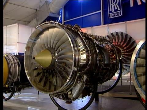 hampshire farnborough farnborough air show int gv rolls royce engines on display in rolls royce pavilion at farnborough air show gv engine gv two... - rolls royce stock videos & royalty-free footage