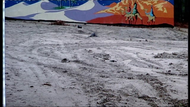 hampshire lapland theme park disappoints visitors; lapland theme park with fake snow barely covering muddy ground ground with artificial snow-covered... - fake snow stock videos & royalty-free footage