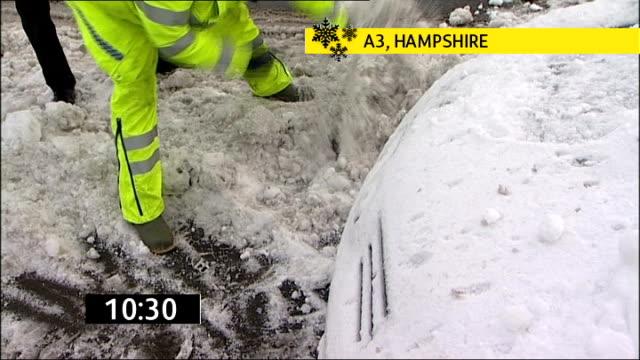 vídeos de stock e filmes b-roll de police helping push car back on to main carriageway - hampshire