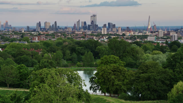 hampstead ponds and london skyline - drone shot - parliament hill stock videos & royalty-free footage