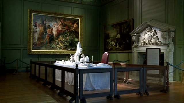 hampton court 'glorious georges exhibition' king's dining table decorated with starched linen in shape of animals/ women's dresses on display in... - monaco royalty stock videos and b-roll footage