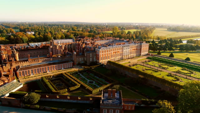 hampton court palace from the air - law stock videos & royalty-free footage