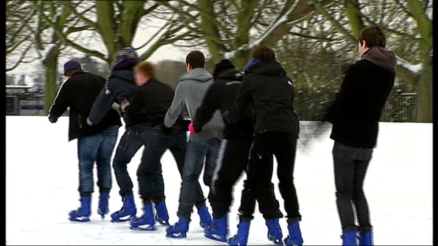 people ice skating chain of people having fun ice skating one person falling over ice skater performing tricks on his skates teenage boy struggling... - dog coat stock videos and b-roll footage
