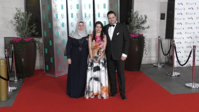hamza alkateab and waad alkateab attends the ee british academy film awards 2020 after party at the grosvenor house hotel on february 02 2020 in... - british academy film awards stock videos & royalty-free footage