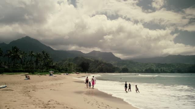 hanalei beach 2 - kauai stock videos & royalty-free footage