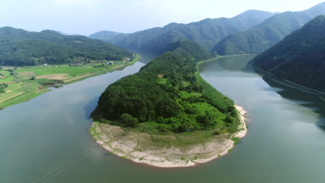 hanbando geography (korean-peninsula-shaped terrain) of dunju peak in okcheon - grove stock videos & royalty-free footage