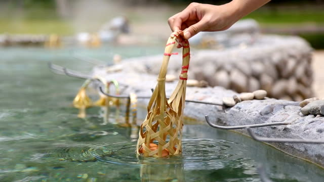 hand boiling eggs in bamboo basket at hot spring. - boiled stock videos and b-roll footage