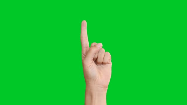 vídeos de stock e filmes b-roll de 4k hand counting on green screen - number 3