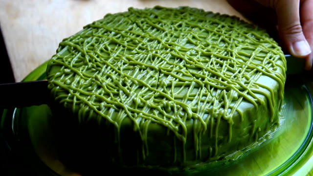 hand cut green tea cake - cross section stock videos & royalty-free footage