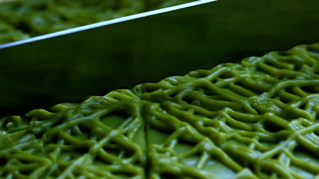 hand cut green tea cake - cute stock videos & royalty-free footage
