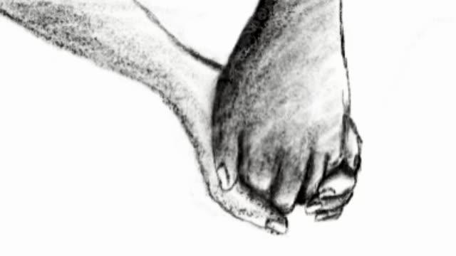 Handzeichnung, Zeichentrickskizze, menschliche Hand-und Körpersprache, Hand zusammen, Verheißung des Zeichens