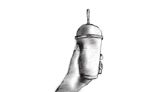 Hand drawing , Animation cartoon sketch , Human's hand holding take away ice coffee cup