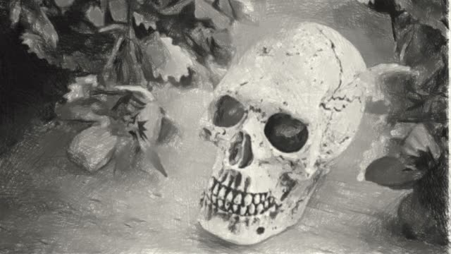 hand drawing , charcoal style, human skull in halloween concept - interconnect plug stock videos & royalty-free footage