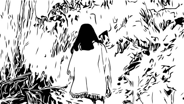 hand drawing , doodle cartoon style , young asian tourist woman walking alone in overgrown dried plant , extreme terrain scene - missing people stock videos & royalty-free footage