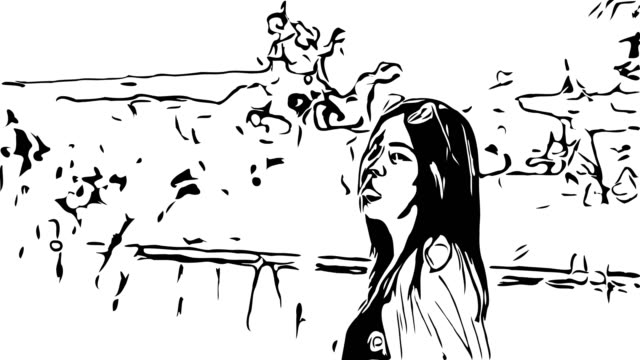 hand drawing , doodle cartoon style , young asian tourist woman walking alone in overgrown dried plant , extreme terrain scene , sticking out tongue - missing people stock videos & royalty-free footage