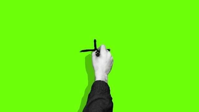 handzeichnung plus kreuz grüner bildschirm - querschnitt stock-videos und b-roll-filmmaterial