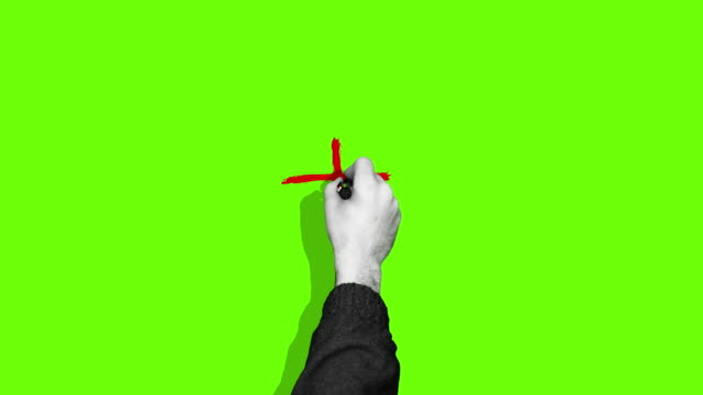 hand drawing plus cross green screen - addition key stock videos & royalty-free footage