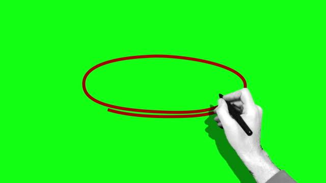 stockvideo's en b-roll-footage met hand die rode cirkel groen scherm trekt - pen schrijfgerei