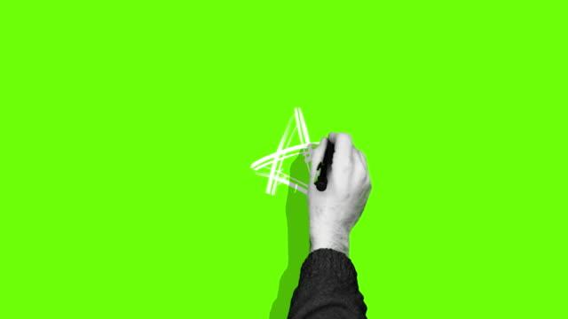 handzeichnung stern grüner bildschirm - stift stock-videos und b-roll-filmmaterial