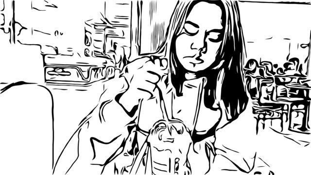 hand drawing , water color style , asian teenage girl using smartphone in coffee shop - illustrazione video stock e b–roll
