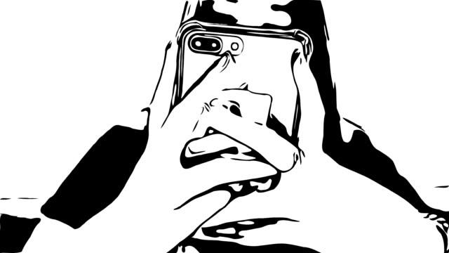 vídeos y material grabado en eventos de stock de dibujo a mano, estilo de color del agua, mano de la mujer usando el teléfono inteligente - ilustración