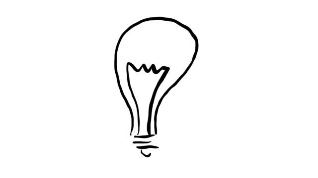 concetto di idea di invenzione della lampadina con segno di freccia animata disegnato a mano - idea video stock e b–roll