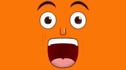 Hand drawn animation of a surprised face isolated on orange background