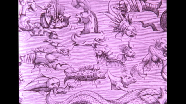hand drawn artwork w/ man by 's' marker fish preparing to bite body fish behind him in creature's mouth zo fantasy creatures monsters serpents in sea - map marker stock videos and b-roll footage