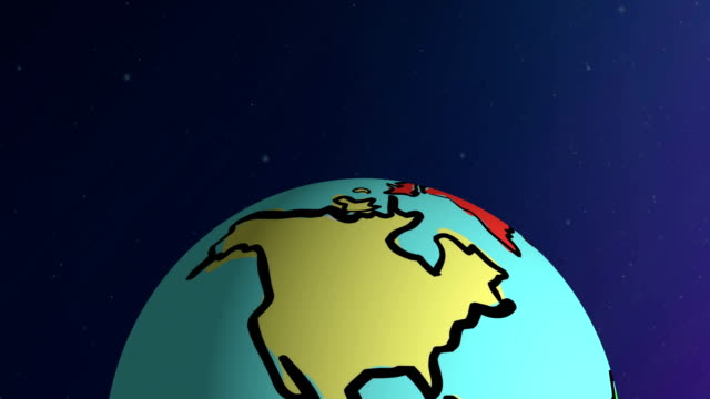 hand drawn cartoon earth turning in space - earth hour stock videos & royalty-free footage