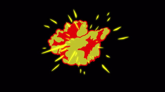 4k hand drawn cartoon explosion fire animation with alpha (transparent) channel, 2d anime, manga, flash fx, comic elements, backgorund, pre-rendered,  just drop the clip straight into your project, ideal for game developers, movies, cartoons, video-music - two dimensional shape stock videos & royalty-free footage