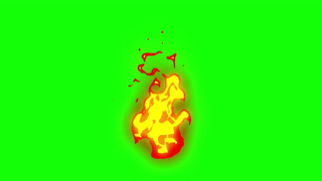 4k hand drawn cartoon fire animation, green screen (chroma key), 2d anime, manga, flash fx, comic elements, backgorund, pre-rendered,  just drop the clip straight into your project, ideal for game developers, movies, cartoons, video-music - annual event stock videos & royalty-free footage