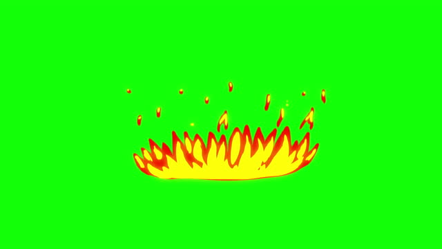 4k hand drawn cartoon fire animation, green screen (chroma key), 2d anime, manga, flash fx, comic elements, backgorund, pre-rendered,  just drop the clip straight into your project, ideal for game developers, movies, cartoons, video-music - satire stock videos & royalty-free footage