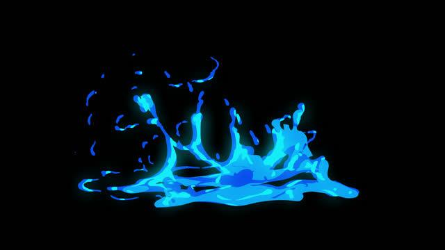 4k hand drawn cartoon water liquid explosion animation con canale alpha (trasparente), anime 2d, manga, flash fx, elementi comici, backgorund, pre-renderizzati, basta far cadere la clip direttamente nel tuo progetto, ideale per sviluppatori di giochi, film - splashing video stock e b–roll