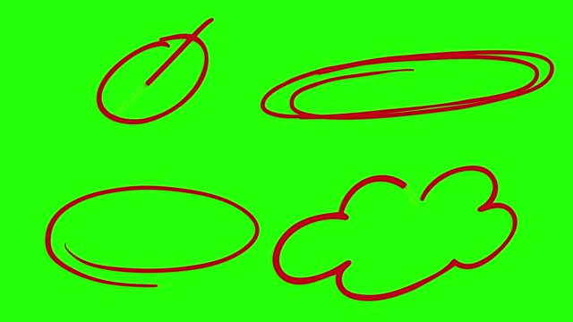 hand drawn circle on green screen - line art stock videos & royalty-free footage