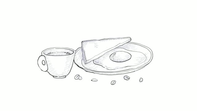 hand drawn of breakfast coffee with fried egg video clip - sketch stock videos & royalty-free footage