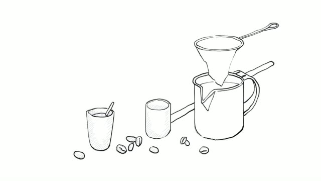 hand drawn of chinese coffee equipment video clip - chinese tea pot stock videos and b-roll footage