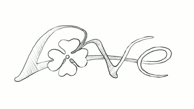 hand drawn of four leaf clovers with love sign - clover leaf shape stock videos and b-roll footage