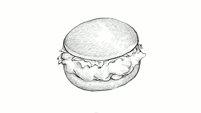 hand drawn of fried chicken burger video clip - sandwich stock videos & royalty-free footage