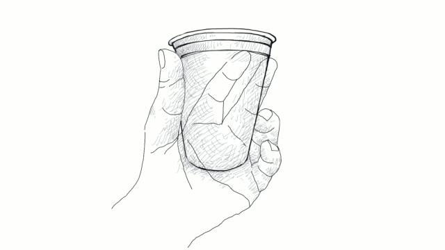 handritad av handen håller disponibla kaffekopp videoklipp - slit och släng bildbanksvideor och videomaterial från bakom kulisserna