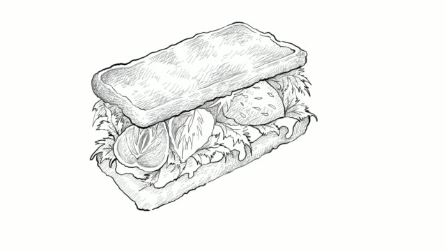 hand drawn of homemade vegetarian sandwich video clip - sketch stock videos & royalty-free footage