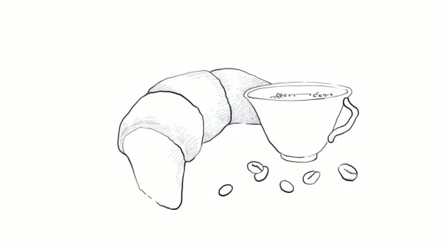 hand drawn of hot coffee with croissant video clip - sketch stock videos & royalty-free footage